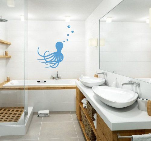 Housewares Wall Vinyl Decal Jellyfish Sea Animals Bathroom Interior Home Art Decor Kids Nursery Removable Stylish Sticker Mural Unique Design For Any Room front-1034546