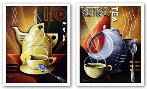 "Retro Tea And Deco Tea Set By Michael Kungl 11""X14"" Art Print Poster"