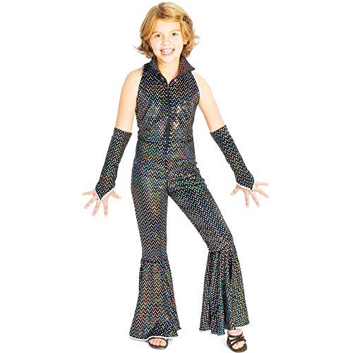 Boogie Girl Black Sequin Disco Jumpsuit Kids Costume