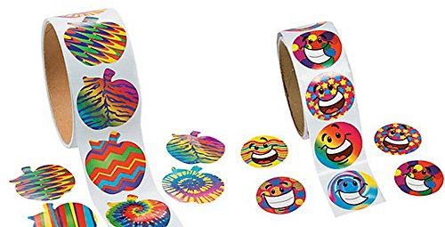 Funky Apple and Smile Face Sticker Set (100 on each roll) School Supplies/Toys/Stationary/Party Favors - 1