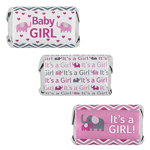 Pink and Gray Elephant Baby Girl Shower Favors Stickers for Hershey's Miniatures Candy Bars (Set of 54) (Pink Grey Baby Shower compare prices)