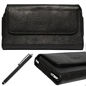 DMG Leather Pouch Belt Clip Holster Case for HTC One X (Black) + Stylus