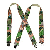 CTM® Mens Elastic Clip-End 2 Inch Farm Tractor and Fields Suspenders, Khaki