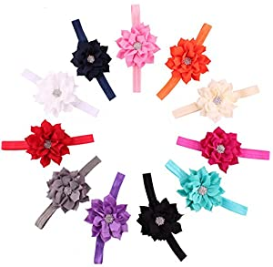 Qandsweet Baby Girl's Headbands Chiffon Hair Bow (10 Pack)