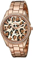XOXO Women's XO5638 Rose Gold-Tone Leopard Dial Dress Watch