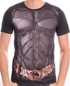 DC COMICS Men's Batman The Dark Knight Uniform Sublimation Print T-Shirt (L, Black)_P