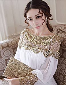 Hengsong European Style Mode élégant Luxe Perles Long Manches Chiffon Party/Mariage/Cocktail Robes Longurer 127cm/Buste 82-86cm