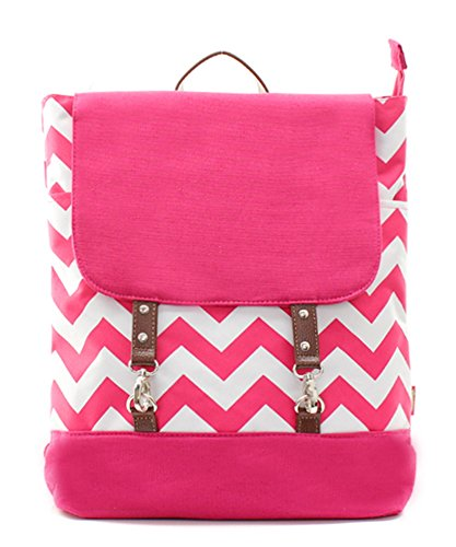 Hot Pink Chevron Print Backpack Bag With Hook Clasp