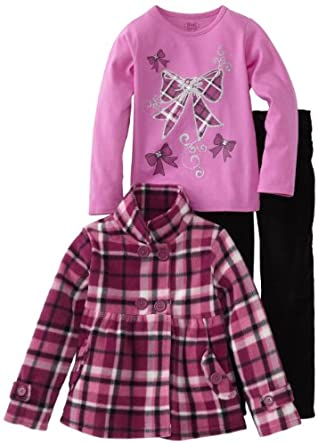 Young Hearts Little Girls' 3 Piece Plaid Bow Micro Polar Fleece Set, Open Purple, 2T