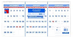 AT-A-GLANCE PM1428 Horizontal-Format Three-Month Reference Wall Calendar, 23 1/2 x 12, 2015-2017