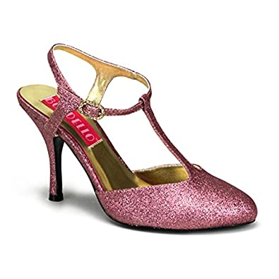 3 1/2 Inch Heel Pink Glitter Sandal Pump Shoes Sexy High Heel T-Strap Shoes Size: 6