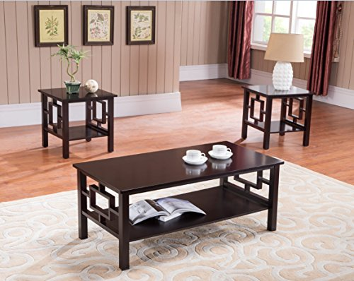 3 Pc. Kings Brand Cherry Finish Wood Coffee Table & 2 End Tables Occasional Set (Wood Coffee Table Set Of 3 compare prices)