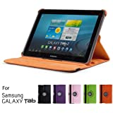 """GMYLE(R) Orange 360 Degree Rotating PU leather Folio Stand Case Cover for tablet Galaxy Tab 1 2 10.1"""" P7510 P5100 With Vertical and Horizontal Multi Angle Stand"""