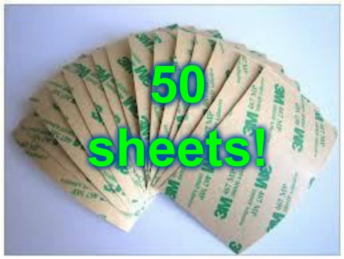 """Fifty Sheets Of 3M 3""""X 8"""" Double Sided Tape Adhesive Great For Digitizer Replacement As Well As Crafting Uses Too!Wide Double Sided Layer Adhesive Sticky Tape Sticker For Mobile Phone ~ Glue Lcd Display And Touch Screen Digitizer Glass !"""