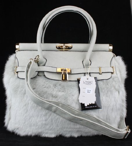 LYDC Vintage Style Grey Faux Fur Padlock Celebrity Designer Croc Leather Shoulder Tote Bag Satchel Briefcase Handbag L6119