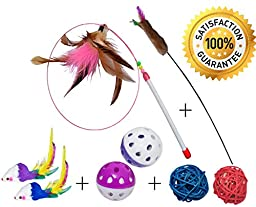 Meowo 8 Pack Cat Dancer Toys/Cat Charmer Wand/Feather Teaser/Mouse/Bell Ball