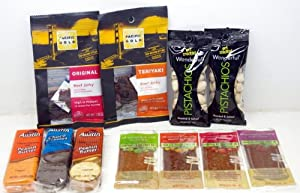 Small Snack Attack BUNDLE! Pistachios, Cookies, Fruit Strips, Crackers and Beef Jerky - 11 Great Snacks - Small Storage Space Friendly!