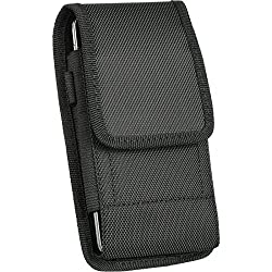 PLUS SIZE Pouch Case Holster for iPHONE 6 PLUS [ 5.5''] ~ Heavy Duty Black Nylon Canvas Velcro Flap Vertical / Horizontal Case with Steel Belt Clip Holster + Carabiner D Ring Hook