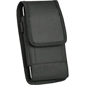 For SAMSUNG GALAXY S7 EDGE {5.5'' version} EpicDealz Extra Large Ultra Rugged Pouch Case Holster Black Nylon Canvas Velcro Flap with Steel Metal Belt Clip + Carabiner Hook
