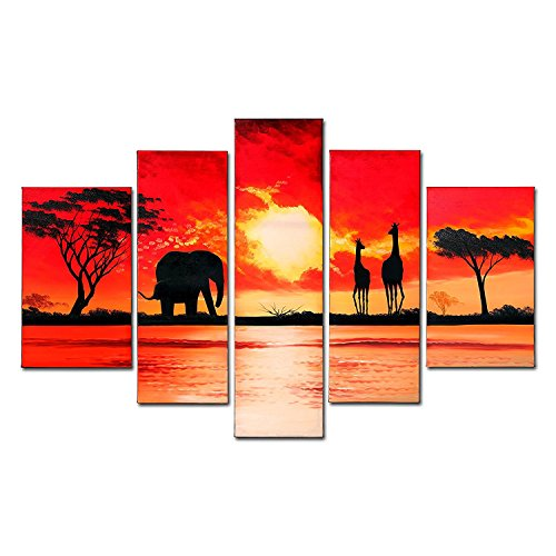 VASTING ART 5-Panel 100% Hand-Painted Oil Paintings Canvas Landscape Peaceful Sunset Lake Modern Abstract Wrapped Canvas Wood Framed Ready To Hang Home Decoration Wall Decor Elephant Giraffe Red Sky