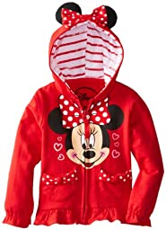 FREEZE Little Girls\' Minnie Polka Dot Bow Toddler Hoodie, Red, 3T