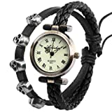 Ailisha Ladies Women Weave Wrap Black Leather Skull Wing Bracelet Quartz Watch WAA356