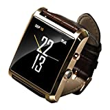 Soyan 2015 latest DM08 Bluetooth watch Hd camera For Android System Sync whatsapp facebook Pedometer And For IPh(partial functions) with Gift box (Gold)