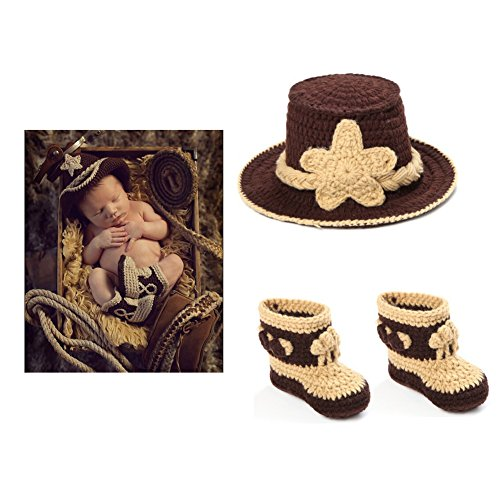 Fast-Flying NewBorn Baby Crochet Knitted Prop Photographic Cowboy Clothing Style Hats and Shoes Outfits