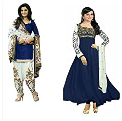 Sky Global Women's Printed Unstitched Regular Wear Salwar Suit Dress Material (Combo pack of 2)(SKY_DC_5041)(SKY_518_Blue)(Dress_198_FreeSize_Blue)