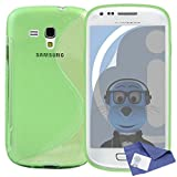 ITALKonline Samsung i8190 Galaxy S3 Mini Green TPU S Line Wave Hybrid Gel Skin Case Protective Jelly Cover with 3 Layer LCD Screen Protector