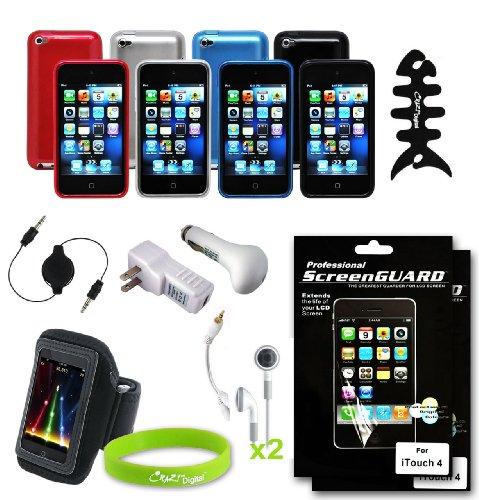 CrazyOnDigital 15 Item Essential Accessories Kit for New Apple iPod Touch 4G iTouch 4th Generation. Free CrazyOnDigital Wristband included