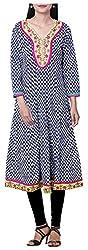 BleuIndus Women's Cotton Straight Kurta (KRT-343_S, Multi-Coloured, S)
