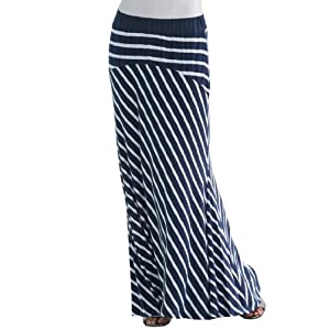 Jessica London Women's Plus Size Tall Striped Maxi Skirt Deep Navy Stripe,14/16 T