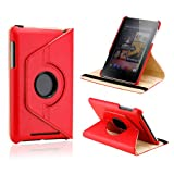 Gearonic Red 360 Degree Rotating Swivel Stand PU Leather Case For Google Nexus 7 Asus Tablet Red (5099RPUIB)