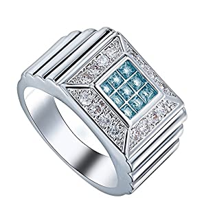 Sterling Silver Full Crystal Cubic Zircon CZ Wide Finger Ring For Bridal Wedding Party Jewelry US 7.8.9