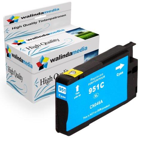 1x Druckerpatrone Ersatz für Hp 1x 951 XL Original Walindamedia Tinte Cyan, 1.500 Seiten Leistung Ersatz für Hp CN046AE ( 951 xl , HP 951 XL ) , Blau