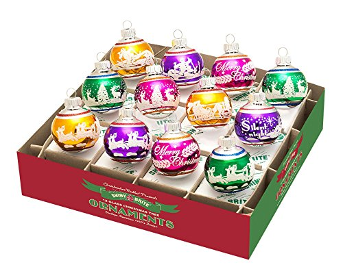 RADKO Shiny Brite Christmas Carnival Mini Signature Flocked Ornaments