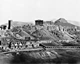 1800s Photo Acropolis From South Graphic. Vintage Black & White Photograph F9