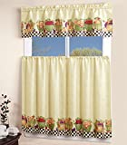 Mk Collection Kitchen Curtain Set Beige Fruits New