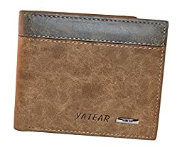 Yateer Man\'s Casual Dull Polish Leather Bi-fold Wallet with Id/card Holder