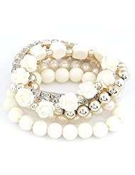 Cinderella Collection By Shining Diva Trendy Fashion White Color Pearl Rose Flower Multilayer Charm Bracelet &...