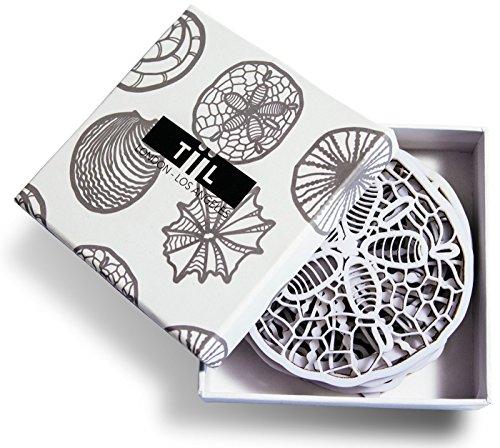 drink-untersetzer-von-tiil-seashell-inspired-designer-untersetzer-set-von-6-plus-geschenk-box-weiss