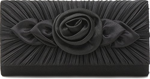 VINCENT PEREZ Borsetta, Borsa a tracolla, Pochette di raso increspato con eleganti rose decorative e tracolla rimovibile (120cm),Colore:Nero