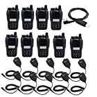 Retevis RT B6 UHF 400-470MHz+VHF 136-174MHz 99CH DCS/CTCSS DTMF FM Transceiver Hand Held Amateur 2 Way Radio Walkie Talkie Black 10 Pack and Retevis Speaker Microphone 10 Pack and Programming Cable