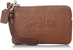 COACH Women\'s Embossed Horse and Carriage Sm L-Zip Wristlet Light/Saddle Clutch