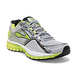 Brooks Mens Ghost 8 Metallic Charcoal/Lime Punch/Silver Sneaker 12.5 EE - Wide