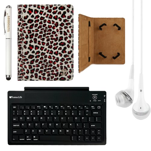 Mary Collection Leather Folio Case W/ Pop Stand For Samsung Galaxy Tab S 10.5 Inch Tablet + Bluetooth Keyboard + Laser Stylus Pen + White Headphones (Leopard) front-62617