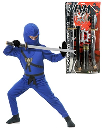 Kid Blue Ninja Avengers Series 1 Costume And Weapons Bundle