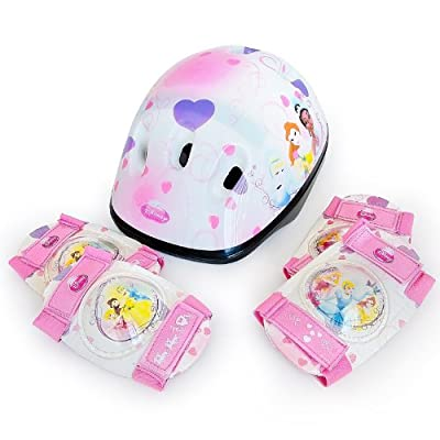 Disney Princess Children Girls Bicycle Helmet 50-56 cm and Safety Pads Set with Elbow and Knee Pads Skate Bike Skateboard from Disney