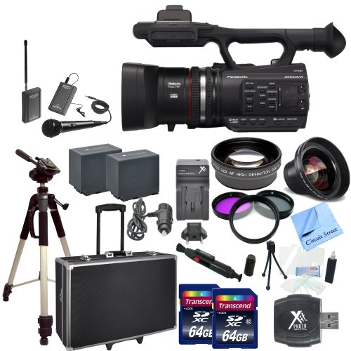 Panasonic Ag-Ac90 Avccam Handheld Camcorder With Cs Interview/Documentary Kit: Includes Wireless Lapel & Handheld Microphone, 2 Replacement Battery Packs, Rapid Charger, Full Size Tripod, Hard Carrying Case With Wheels & Retractable Handle, 2 64Gb Sdxc Me